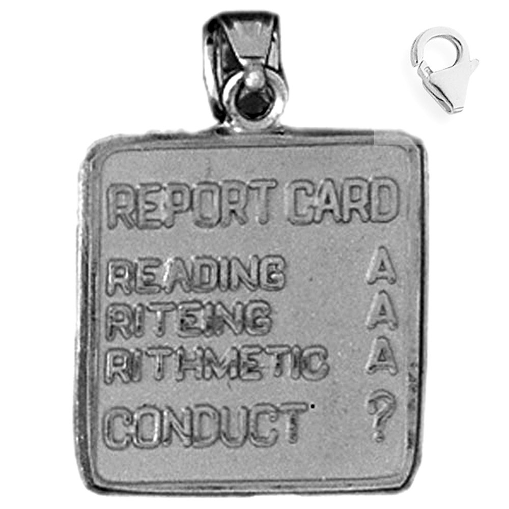 Jewels Obsession Report Card Pendant Sterling Silver 24mm Report Card with 7.5 Charm Bracelet