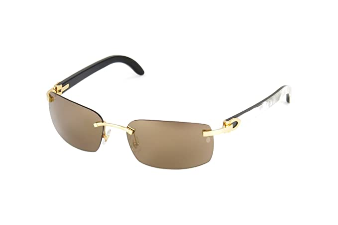8c23df2f23443 Image Unavailable. Image not available for. Colour  Cartier C Décor White  Buffalo Horn Smooth Golden Finish Brown Lenses T8200759 Sunglasses