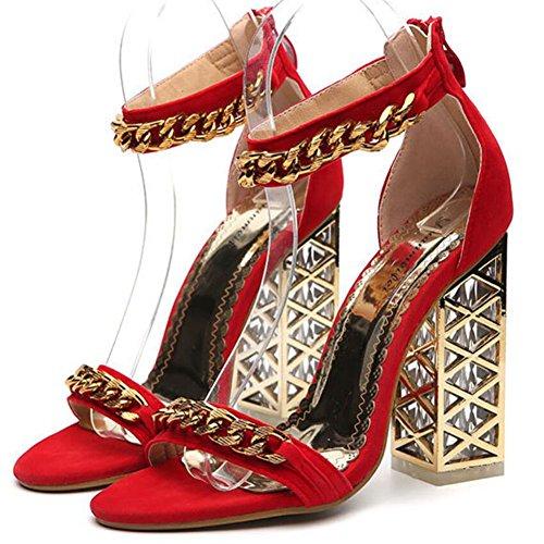 spesso Nuove comodi da GAOLIXIA in estive cristallo sandali tacchi Rosso scarpe rossi con neri Scarpe donna da donna con Scarpe YqZp77