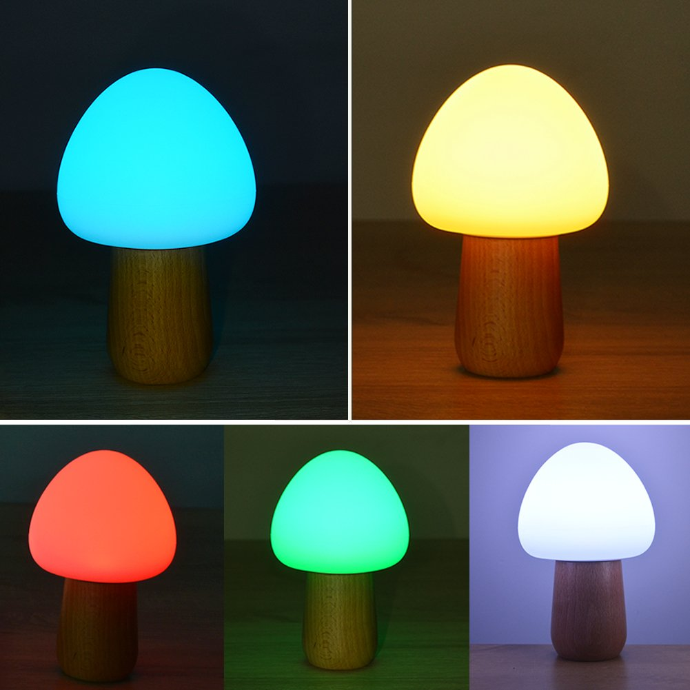 Night Lights for Kids, MEGACRA Baby Night Light 5 Color 4 Mode Silicone Beech Bedside Nightlight with Eye Caring LED, Adjustable Brightness and Color, USB Rechargeable, Wireless Remote Control