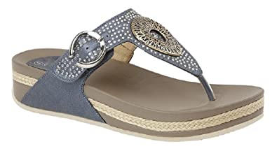 Women's Boulevard Dim Jewelled Toe Post Mule Sandals (3 UK, Blue Shimmer)