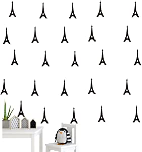 40 Pieces/Pack Eiffel Tower Pattern Wall Sticker Vinyl Home Decoration Art Decor Sticker Kids Nursery Bedroom Boy Room Wall Decor Art Adesivo Decal (Black)
