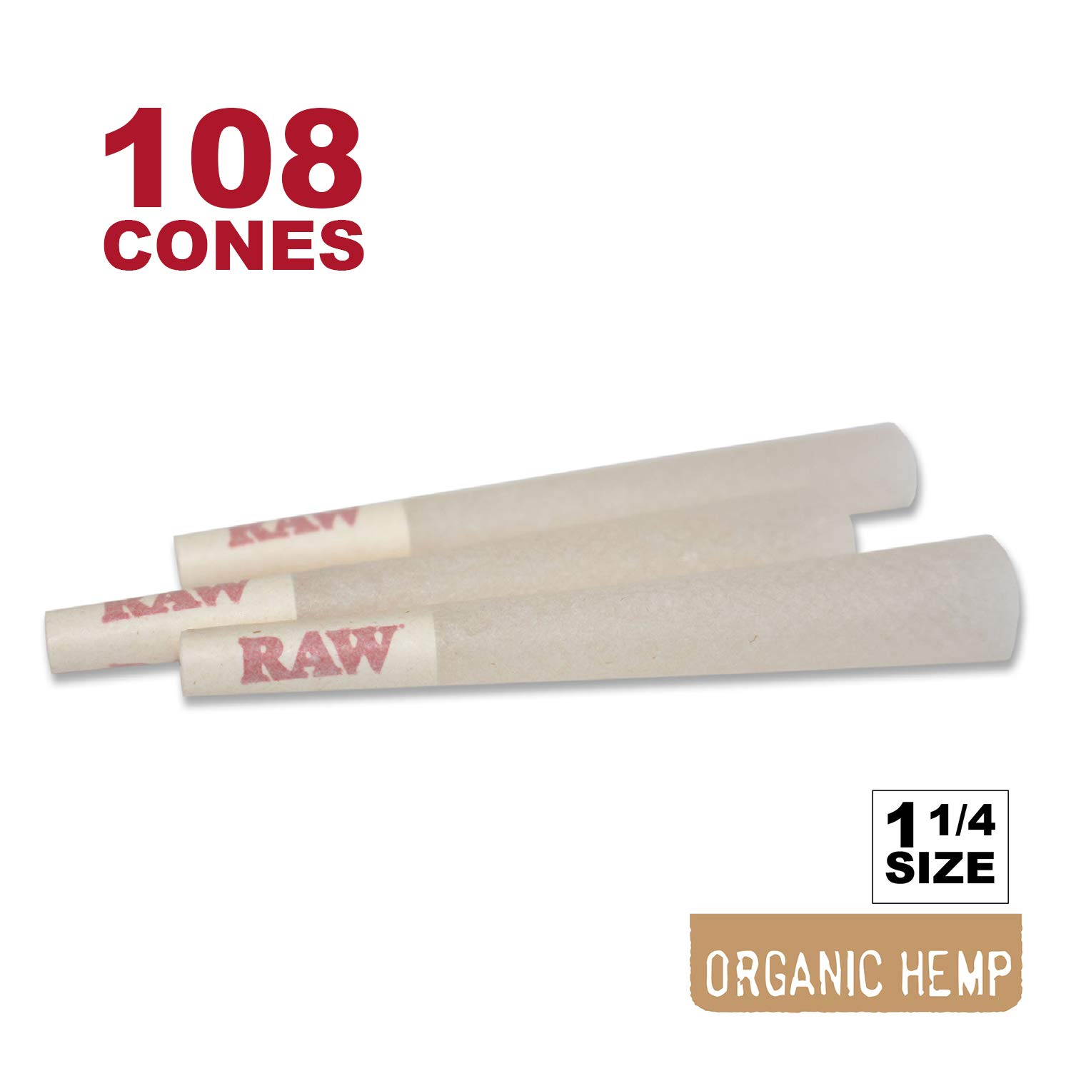 RAW 108 Organic 1 1/4 Cones - W Gallery Scoop Sticker - Discreet Box - Pure Hemp 1.25 84mm Pre-Rolled Cones - 26mm Filter Tips - Natural Unbleached Unrefined Rolling Papers - 100 + Bonus Pack