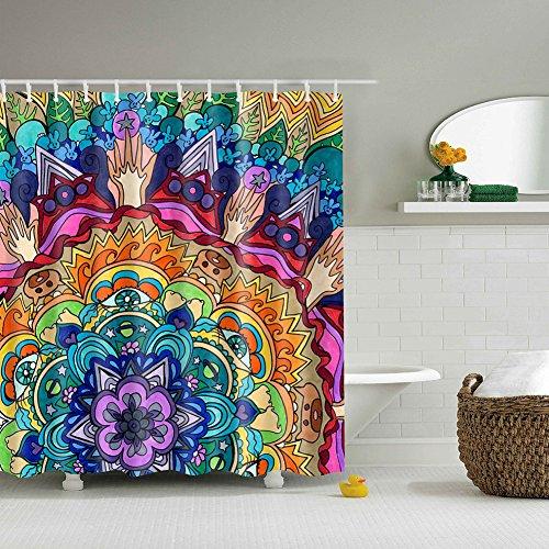 Xinhuaya Mandala Decor Shower Curtain Set, Colorful Round Floral Starry Pattern Spiritual Meditation Theme Zen Art, Bathroom Accessories, 71 Inches by Xinhuaya