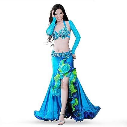 ROYAL SMEELA Vestido de Traje de Danza del Vientre Nuevo diseño Sujetador Falda cinturón Set de