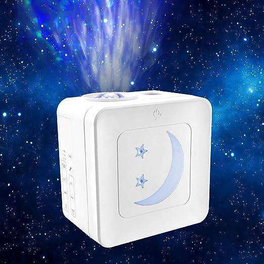 Proyector Estrellas LED, 21 Modos Lámpara Luna Infantil Nocturna Con Sonido Activado y Modo Inalámbrico, Luces Decorativas Habitacion Control tactil, ...