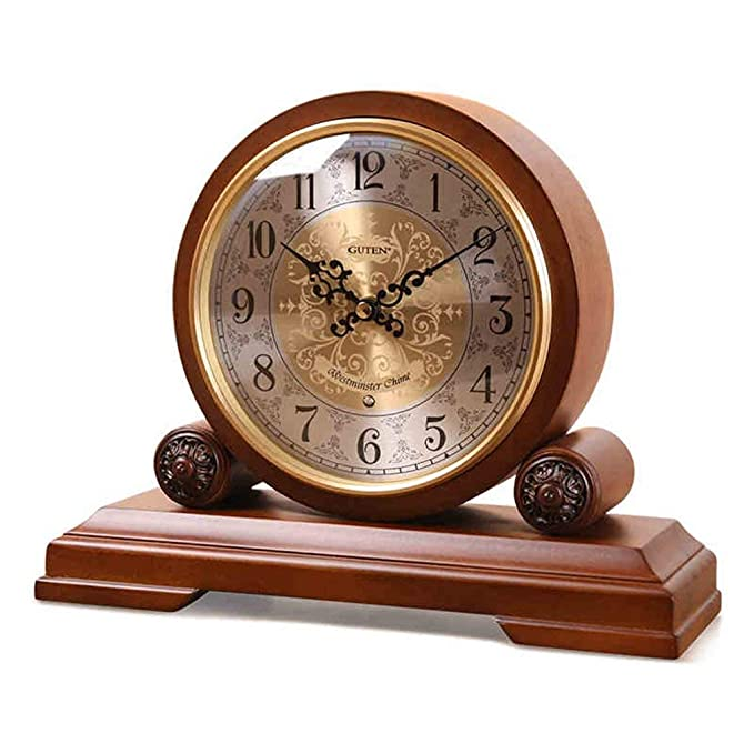 Amazon.com : Family Fireplace Clocks Pay Time Table Clock Tablecloth Living Room Clocks Wooden Bedroom S ó LIDA Mute Sweep Movement Watch Decoration ó n ...