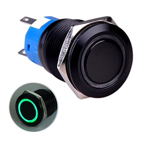 Suitable for 19mm 3//4 Mounting Hole Ulincos Touch Switch UT19T5 Stepless Dimming Switch DC 6V to 24V Blue LED with Standard Barrel Connectors