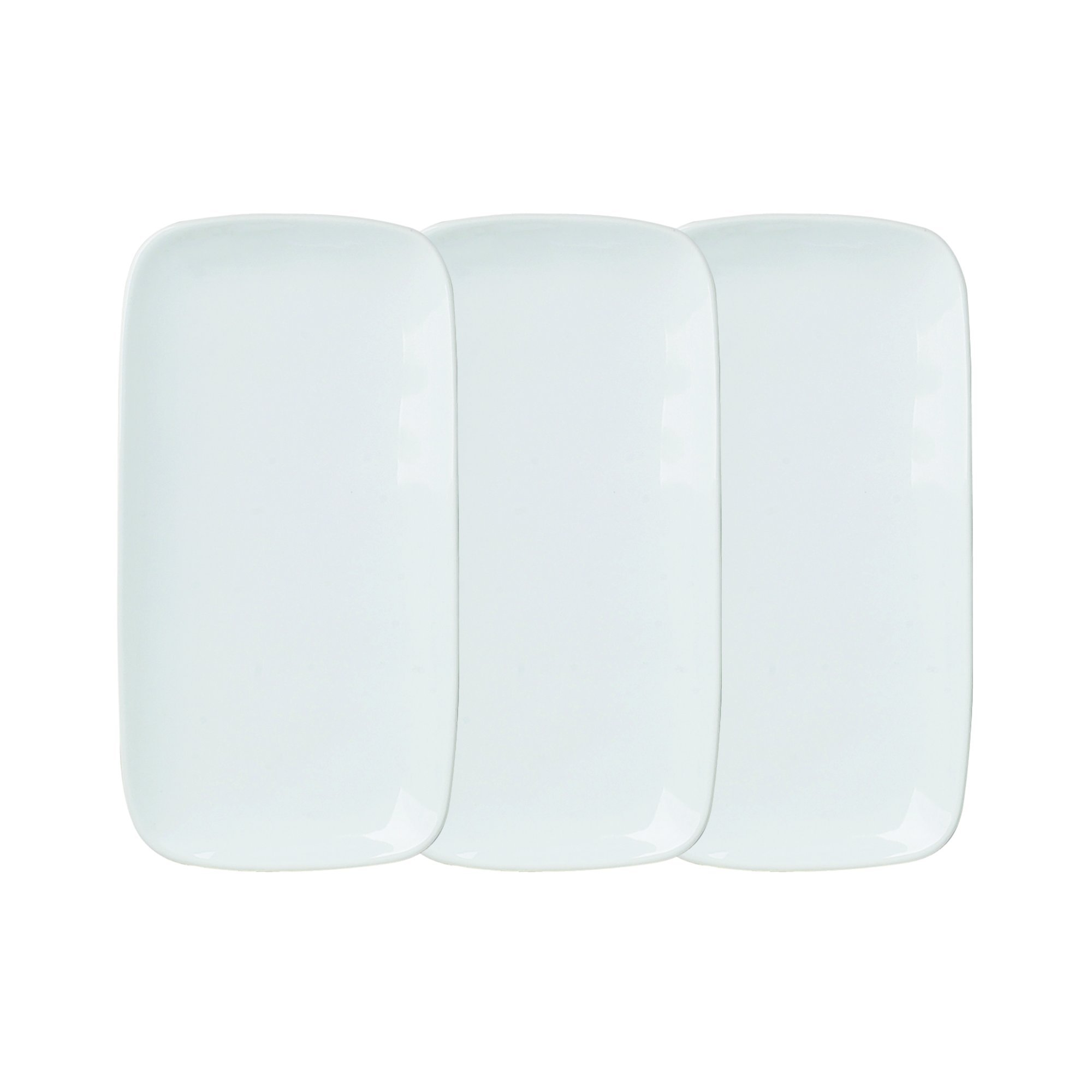 HIC Sushi Plate Set, Fine Porcelain, White, 4.5 x 9-Inches