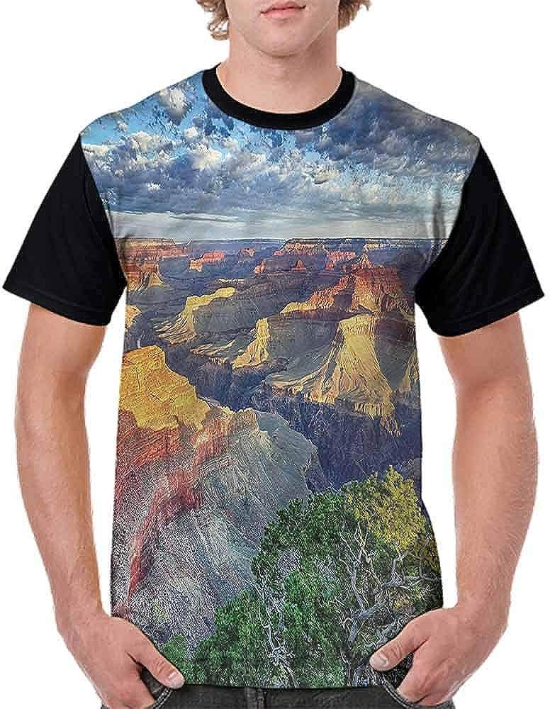 BlountDecor Performance T-Shirt,Panoramic American View Fashion Personality Customization