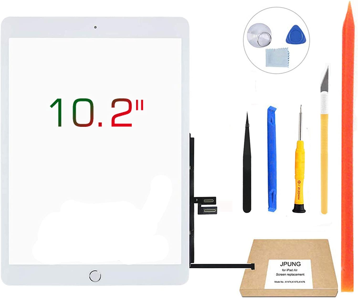 """JPUNG Touch Screen Replacement for iPad 7th Generation 8th Generation Digitizer 10.2"""", Only for 7th 8th Gen A2197 A2198 A2200,A2270, A2428, A2429, A2430 with Home Button & Tool Repair Kit"""