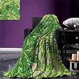 smallbeefly Green Leaf Digital Printing Blanket Exotic Pattern with Tropical Leaves Fresh Jungle Aloha Hawaii Summer Quilt Comforter Fern Green Apple Green Beige