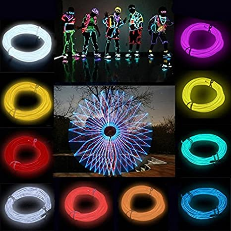 Baynne Flexible EL Wire Neon Light 3 Meters for Dance Party Car Decor with Controller Red