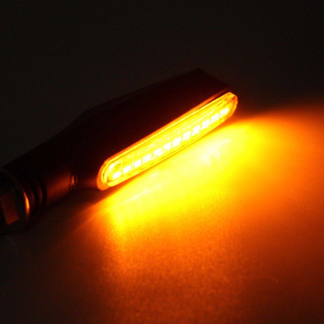FEZZ Intermitentes Moto 12 LED /Ámbar L/ámparas Luces de Direcci/ón Se/ñales Universal Iluminaci/ón Fluido Motocicleta /Ámbar para Yamaha R1 R6 FZ XT WR TW TT-R DC 12V Paquete de 4
