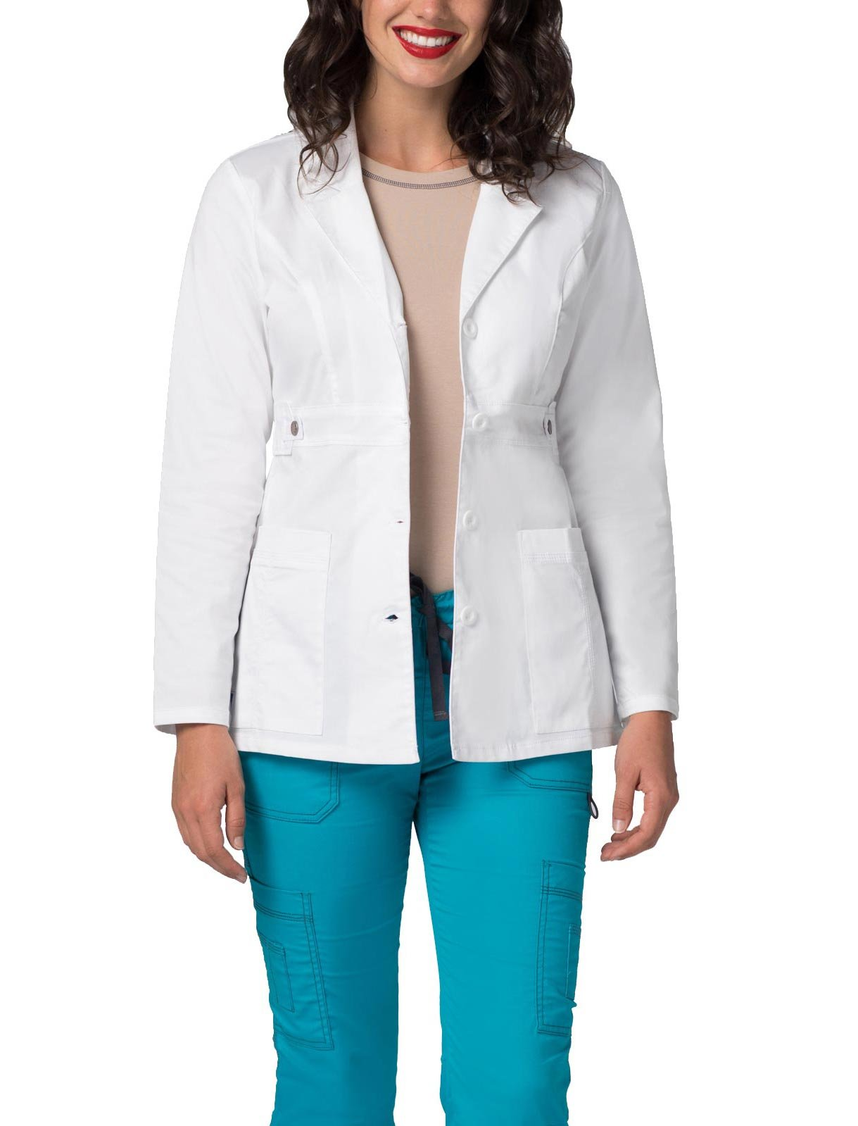 Adar Pop-Stretch Junior Fit Women's 28'''' Tab-Waist Lab Coat'' - 3300 - White - M