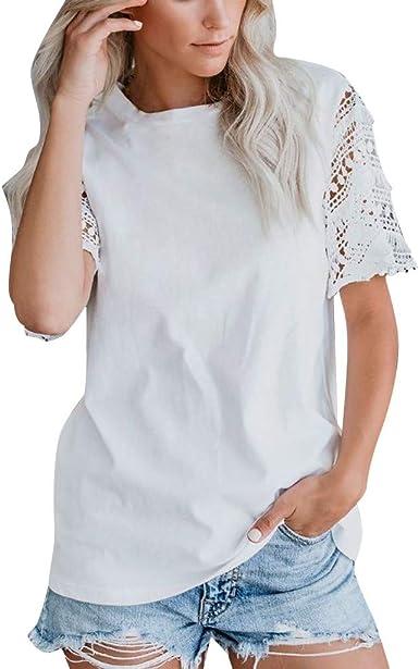 Camiseta Mujer Verano Moda Color sólido Manga Corta Encaje Blusas Camisa Cuello Redondo Basica Camiseta Suelto Tops Casual Fiesta T-Shirt Original tee vpass: Amazon.es: Ropa y accesorios