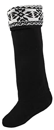 LD Outlet Para mujer Botas de bota zapatero para botas de agua calcetines liners invierno Nieve Ladies Faux Fur Cuff leopardo Knited Fairisle: Amazon.es: ...