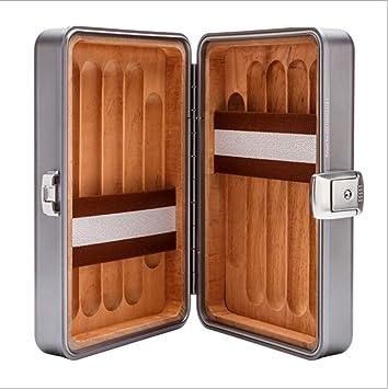 LHFJ Cigarro humidor Cedro de aleación de Aluminio y magnesio Caja de Puros de Madera Mini portátil cigarro Organizador para Viajes, Viaje de Negocios: ...