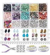 EuTengHao 933Pcs Irregular Chips Stone Beads Natural Gemstone Beads Kit with Earring Hooks Spacer...
