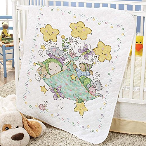 Baby by Herrschners Pre-Quilted Bundle of Joy Baby Quilt Stamped Cross-Stitch - Quilted Quilt Pre Baby