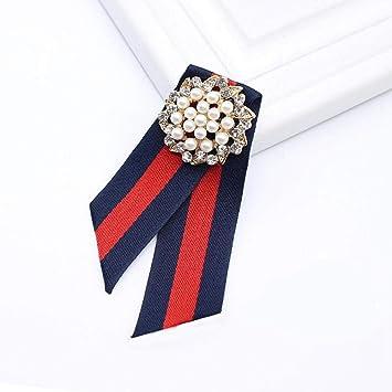 ZWLZQ Broches broche Perlas De Imitación Flor Cinta Lazo Collar ...
