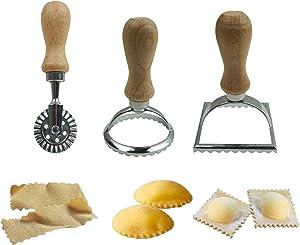 Proshopping 3 Set Ravioli Stamp Cutter, Large Round Square Ravioli Maker and Dough Wheel Cutter, Metal Pasta Stamp Press Mold - for Italian Ravioli, Pasta, Dumplings Lasagna, Pierogi, Wonton, Pastry