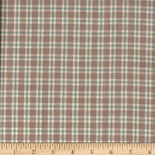 Textile Creations Rustic Woven Plaid Taupe/Beige/Aqu/Crm Fabric By The Yard (By The Rustic Fabric Yard)