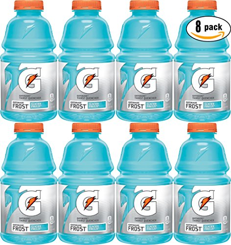 Gatorade Frost Glacier Freeze, Light Blue, Thirst Quencher Sports Drink, 32oz Bottle (Pack of 8, Total of 256 Oz)