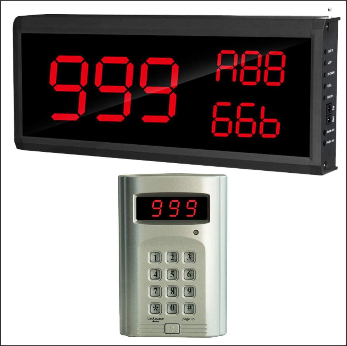 SHIHUI 3 Number Big Display Voice Number Call Host Number Keypad Caller Queue Wireless Calling System Number Call 999-Channel for Restaurant Hospital Fast Food Shop Kitchen Call