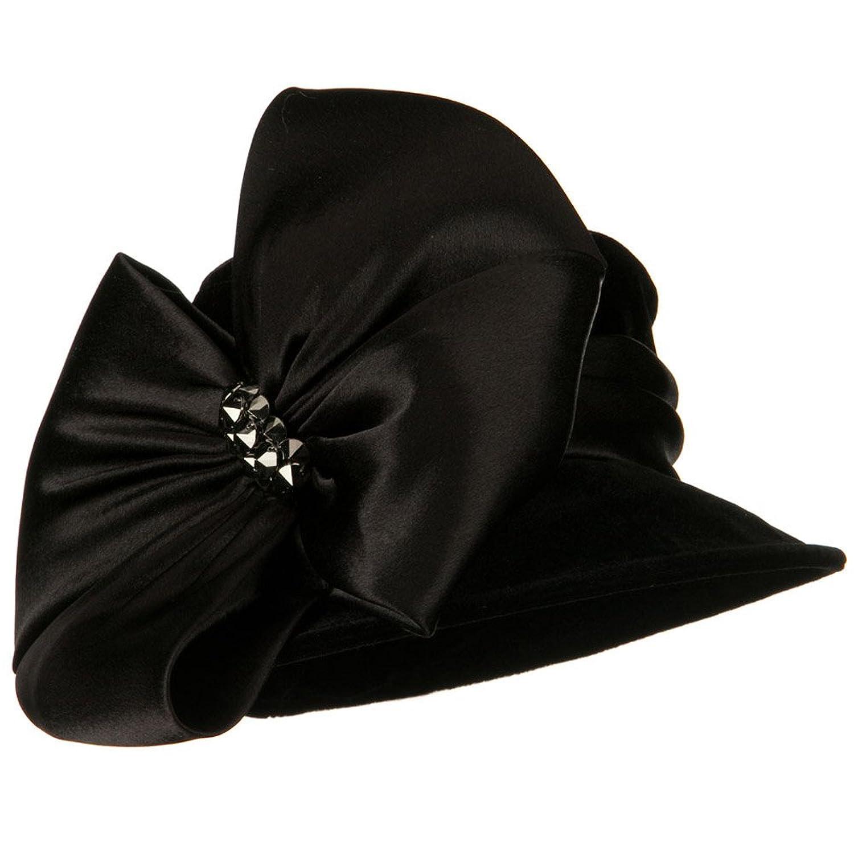 Retro Vintage Style Hats Big Bow Velvet Hat - Black W24S45F $54.49 AT vintagedancer.com