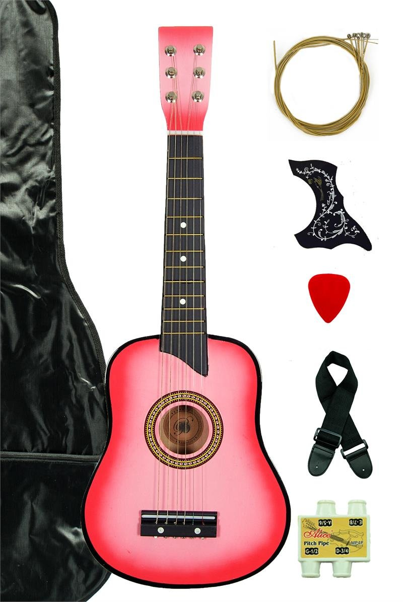 Pink Acoustic Toy Guitar for Kids with Carrying Bag and Accessories & DirectlyCheap(TM) Translucent Blue Medium Guitar Pick Directly Cheap 000-BT-GA2511R-PK