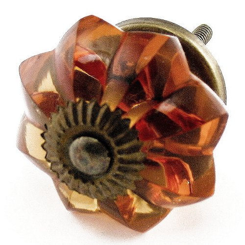 - Old Amber Glass Cabinet Knobs, Drawer Pulls & Handles Set/2pc ~ K85 Old Amber Melon Style Glass Knobs with Antique Brass Hardware ~ Glass Knobs, Handles & Pulls for Dresser, Drawers, Cabinets & Vanity