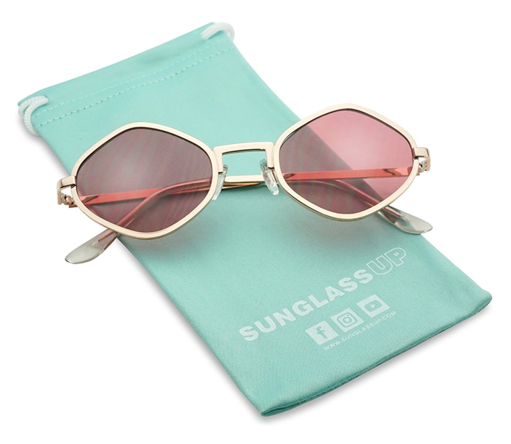 Full Metal Geometric Color Tinted Flat Lens Designer Inspired Sun Glasses (Gold Frame | Pink)