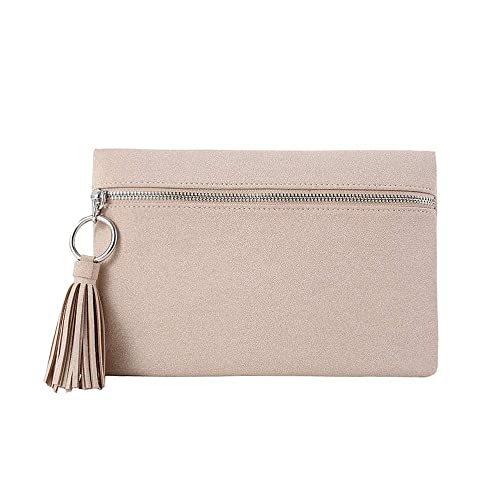 5b2b6bcbe7 Suede Clutch Purses Bags with Tassels for Women Clutches Pouch Casual  Zipper Front Handbag Metal Ring