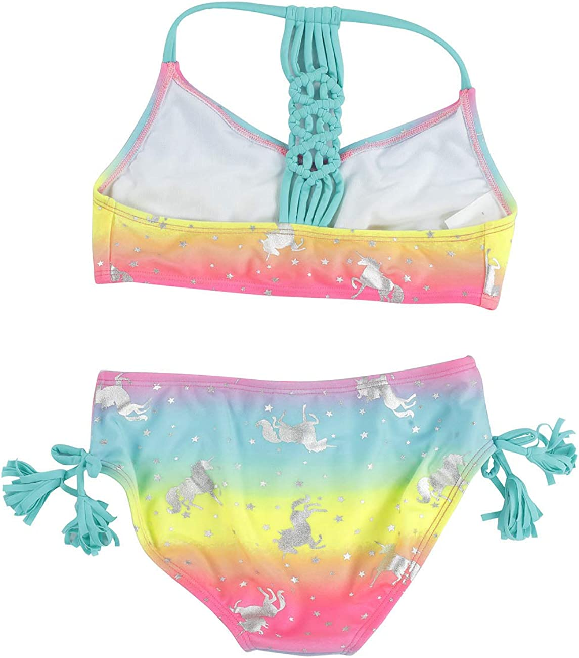 DUSISHIDAN Girls Kids Two Piece Bikini Set Floral 2-Piece Bathing Suits for US 4-14