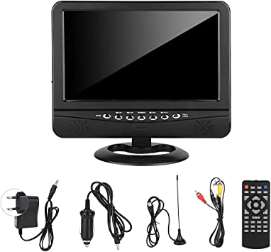 TV de pantalla panorámica portátil, ángulo de visión amplio de 9,5 pulgadas TV portátil Reproductor de televisión DVD analógico móvil para coche EU 100-240V: Amazon.es: Coche y moto