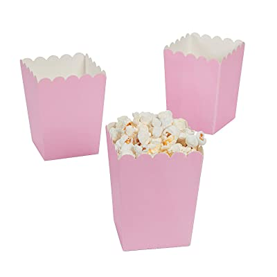 Mini Light Pink Popcorn Box (24pc) - Party Supplies - Containers & Boxes - Paper Boxes - 24 Pieces: Toys & Games