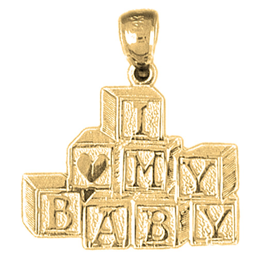 23mm Silver Yellow Plated I Love My Baby Pendant