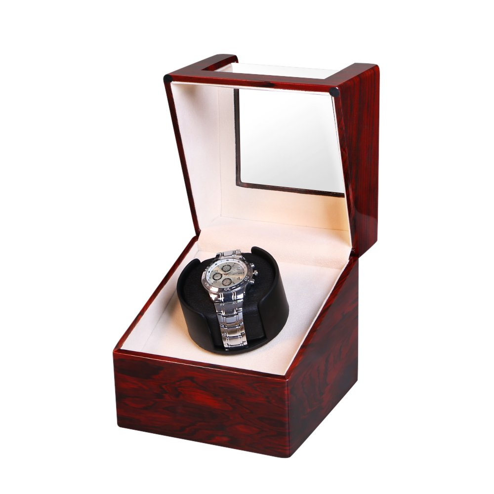 OLYMBROS Wooden Battery Powered Automatic Single Watch Winder with Quiet Japanese Mabuchi Motor