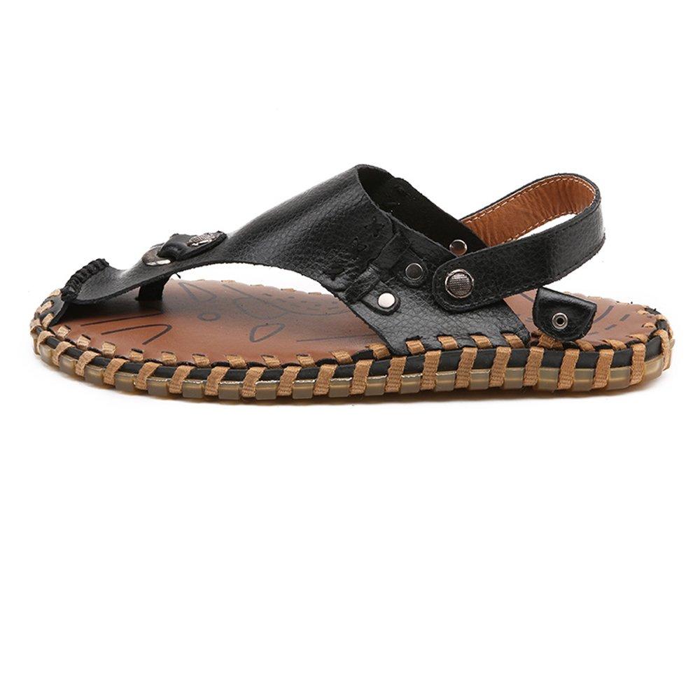 2018 NEW! men Sandals for men NEW! Shoes Genuine Leather Beach Flip Flops Slippers Non-slip Soft Flat Casual Backless Sandals (Color : Black, Size : 25.5CM) 25.5CM Black B07D8HBYVC 7994e3