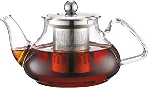 TOYO HOFU Clear High Borosilicate Glass Teapot with Removable Food Grade 304 Stainless Steel Infuser, Large Heat Resistant Loose Leaf Tea Pot,Stovetop Safe,800 ml /27oz