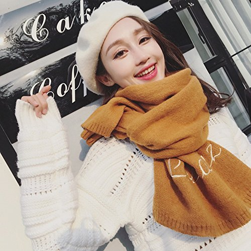 MKKM Ladies Winter Embroidery Collar Fashion Letters Solid Color Scarf Student Collar,Caramel colour