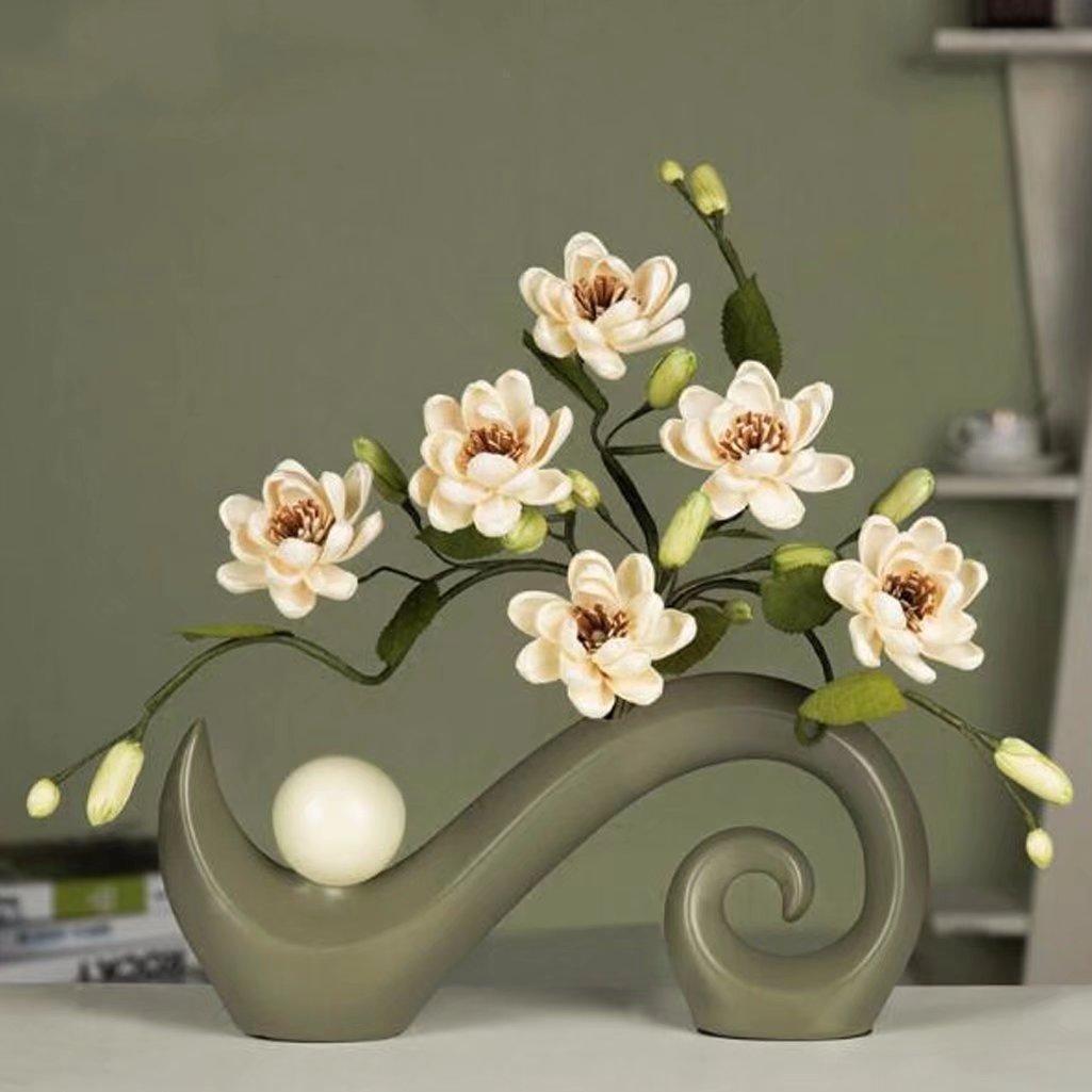 フラワー 造花 スイレン 飾り物 造花 セット 造り花 北欧 花の置物 デザイン 芸術品 枯れない 手作り インテリア オシャレ 置物 お洒落 敬老の日 A-KUYA B07CGDRHZ7 カラーA