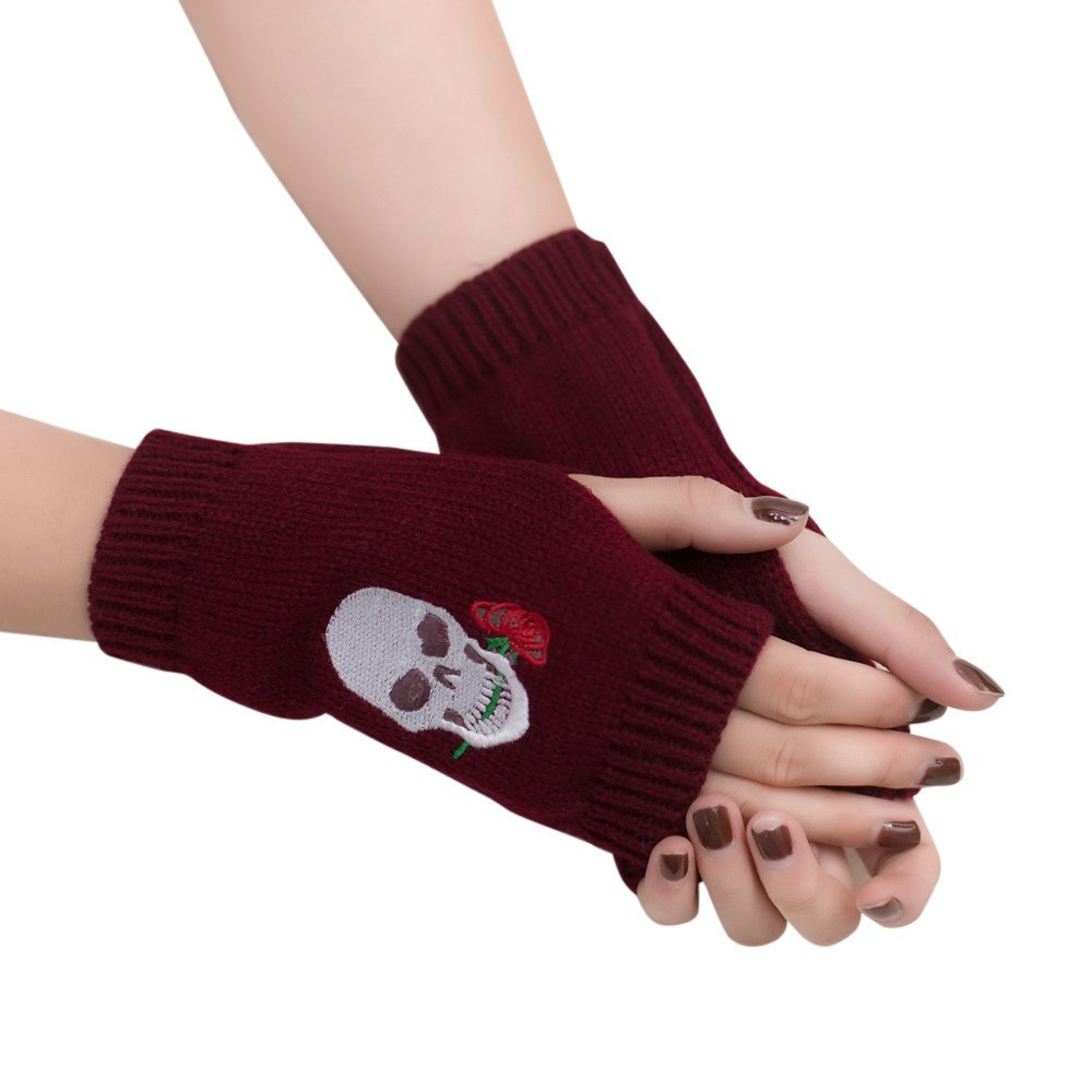 Women Skeleton Knit Half Finger Gloves,Crytech Fashion Winter Warm Skull Rose Embroideried Knitted Fingerless Gloves Mittens for Lady Girls Riding Typing Texting Hand Warmer
