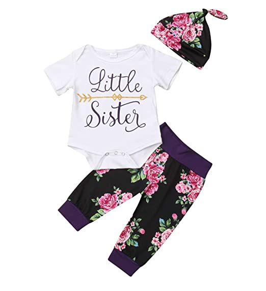 4acc5a4a72990 Baby Girls Little Sister Big Sister Short Sleeve Bodysuit T-Shirt Tops  Floral Pants Bowknot