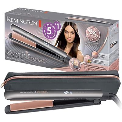 Remington S8598 Keratin Protect - Plancha de Pelo, Cerámica, Digital, Keratina, Sensor de Protección de Calor, Resultados Profesionales, Gris