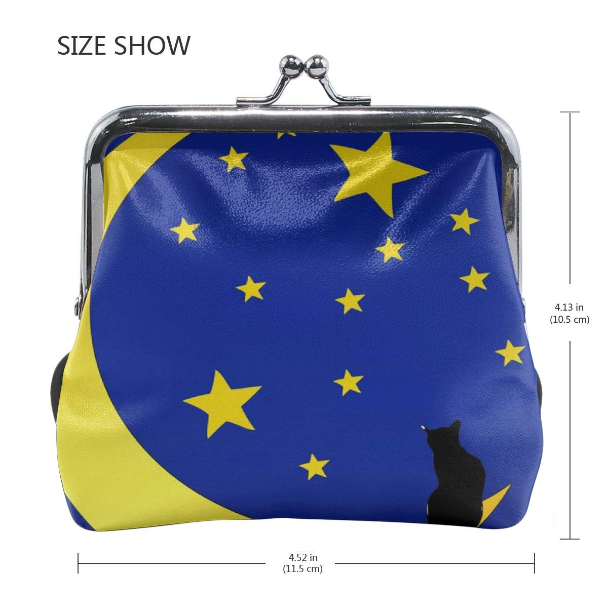 Poream The Cat In Front Of A Starry Sky Customized Retro Leather Cute Classic Coin Purse Clutch Pouch Wallet For Womens