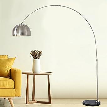 Moderno acero inoxidable Lámpara de pie creativos 360 ° rojo ierenden Cuello de cisne arco lámpara de pie Fácil mármol Base Dormitorio Lámpara Estudio Lampara E27: Amazon.es: Iluminación
