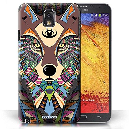 Etui / Coque pour Samsung Galaxy Note 3 / Loup-Couleur conception / Collection de Motif Animaux Aztec