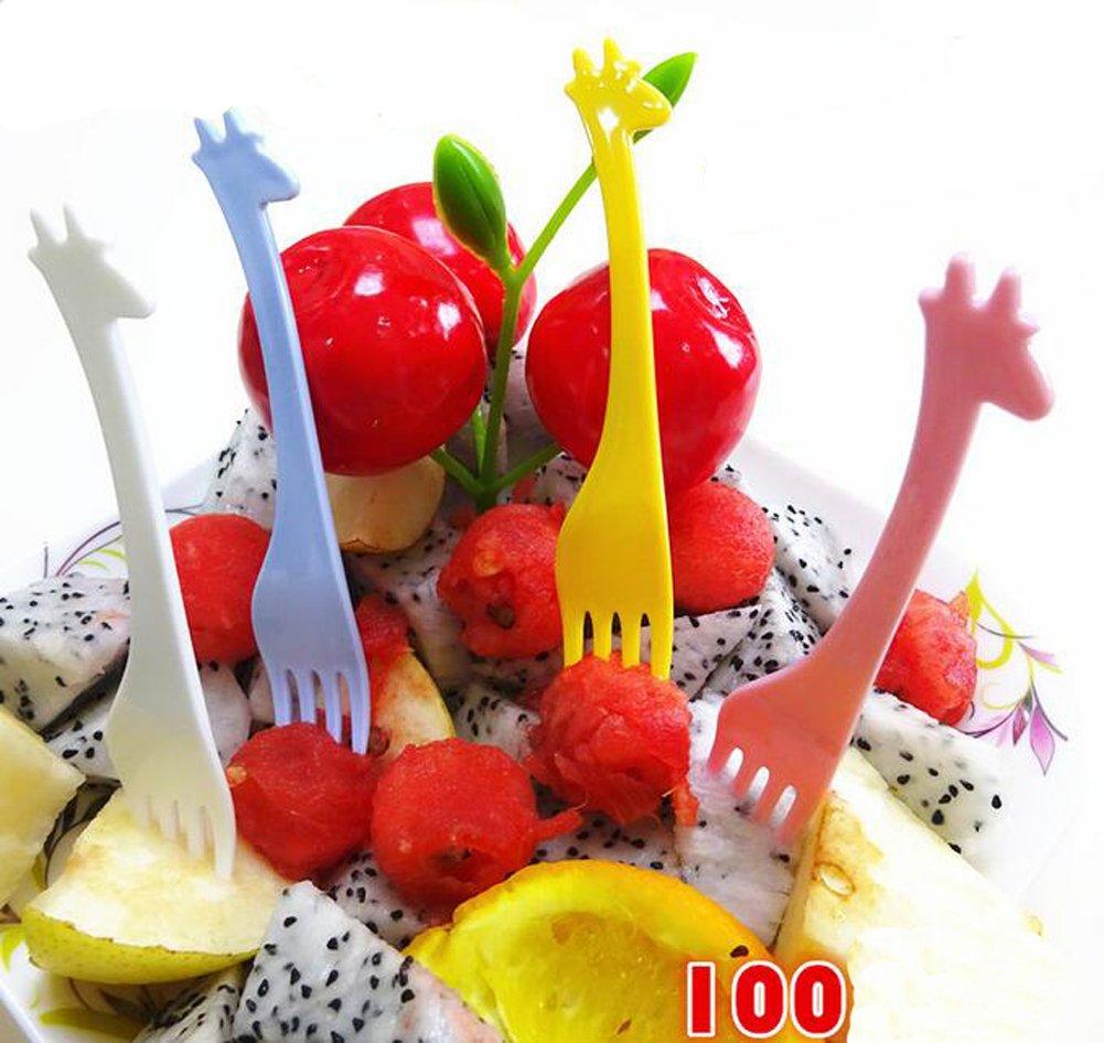 100PCS Colorful Disposable Plastic Cocktail Picks Fruit Forks Cocktail Sticks Plates Picks Cake Forks Dessert Forks Party Supplies For Baby Child (Color Random)